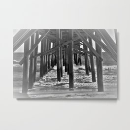 Underneath the Pier (Black and White) Metal Print
