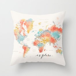 """Explore"" - Colorful watercolor world map with cities Throw Pillow"