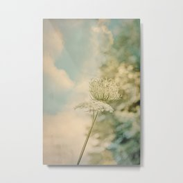 Cloudy with Sunshine and Queen Anne's Lace Wild Flowers in a Meadow Metal Print