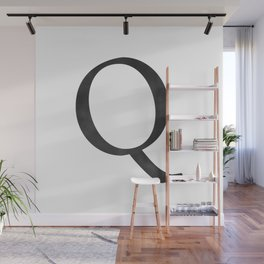 Letter Q Initial Monogram Black and White Wall Mural