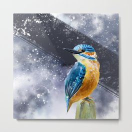Kingfisher Bird Original Watercolor Painting Design Metal Print