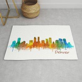 Denver Colorado City Watercolor Skyline Hq v2 Rug