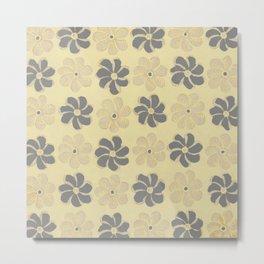 Floral design Yellow & Gray Flowers print Metal Print
