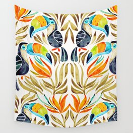 Tropical Toucans – Sepia Palette Wall Tapestry