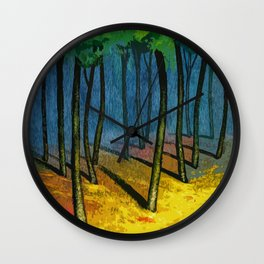Sunset light in the forest Wall Clock