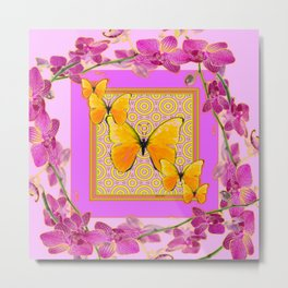 Golden Butterflies Purple-Pink Orchids Art Metal Print