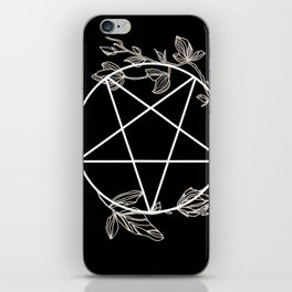 Pentagram with Plant Adornments - on black iPhone Skin