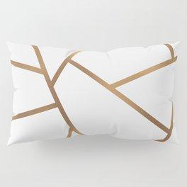White and Gold Fragments - Geometric Design Pillow Sham