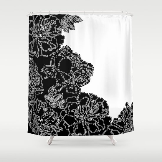 Floral In Black And White Shower Curtain By Absentis Designs Society6