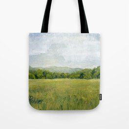 Vermont Landscape Mountain Fields Trees Pastures Oil Painting Tote Bag