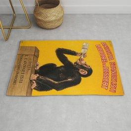 Vintage Anisette Liquor Italian Drinking 'Drunken Monkey' Aperitif Advertisement Poster Rug