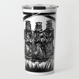 Raw Photography of Three Wise Men Engraved in Black Ink Travel Mug