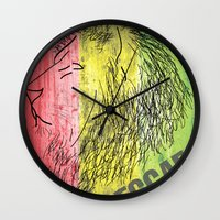 reggae Wall Clocks featuring Reggae Lions by Teo Designs