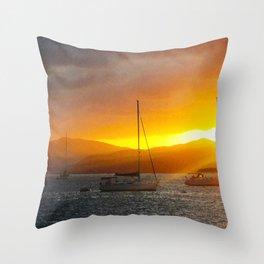 Norman Island Sunset - Sailboats at Sunset Throw Pillow
