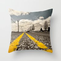 road Throw Pillows featuring Road by Color and Patterns