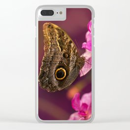 Blue Morpho butterly on pink flowers Clear iPhone Case