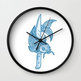 Koi Nishikigoi Carp Fish Knife Drawing Wall Clock