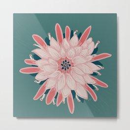 Cactus Flower Pink & Teal Green _ Oil Painting Metal Print