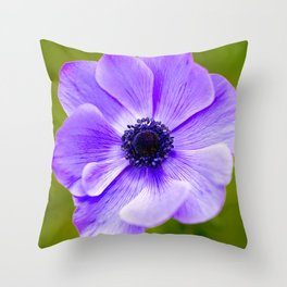 Purple Anemone Natural Green Background Throw Pillow