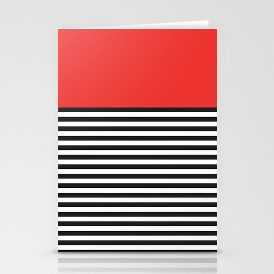 STRIPE COLORBLOCK {POPPY RED} Stationery Cards