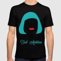 Teal Ambition MEDIUM Black Mens Fitted Tee