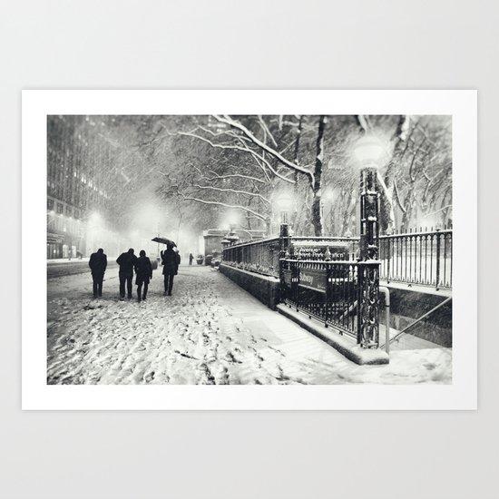 New York City Snow Bryant Park Art Print