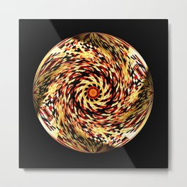 Red Black Yellow Kaleidoscopic Ball Circle Metal Print