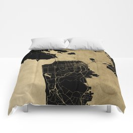 San Francisco California Black and Gold Map Comforters