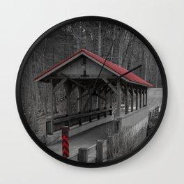 Old Stage Road Romantic Enclosure Covered Bridge Hampton New Hampshire Taylor River Wall Clock