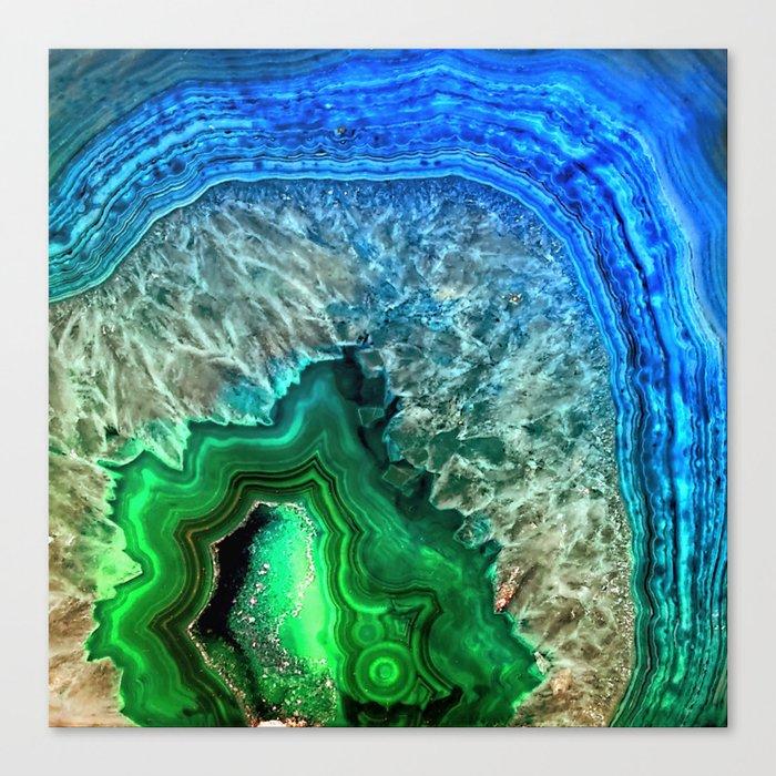 Turquoise Green Agate Mineral Gemstone Leinwanddruck