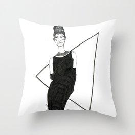 Girl in a black dress Throw Pillow