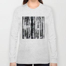 Tie-Dye Shibori Stripe BW Long Sleeve T-shirt