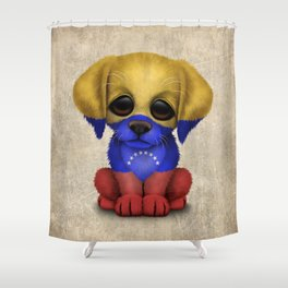 Cute Puppy Dog with flag of Venezuela Shower Curtain