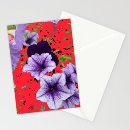Petunias with Patterned Background Stationery Cards