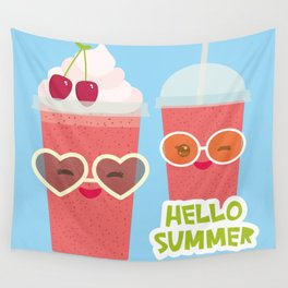 Hello Summer Kawaii cherry smoothie Wall Tapestry