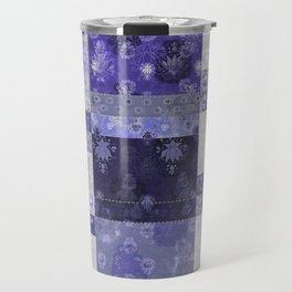 Lotus flower blue stitched patchwork - woodblock print style pattern Travel Mug