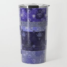 Lotus flower blue stitched patchwork - woodblock print style pattern Travel Mug