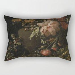 Flowers, Lizards and Insects - Elias van den Broeck (1650-1708) Rectangular Pillow