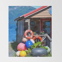 Boat Floats Display - Whittier, Alaska Throw Blanket