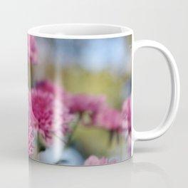 Rosy Chrysanthemum with gold leaves, blue sky Coffee Mug