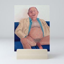 Daddy is tired after Work, but always happy when he sees me. Mini Art Print