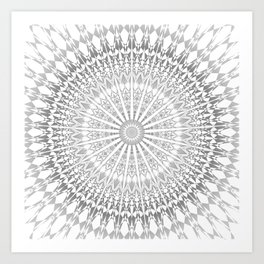 Gray White Mandala Kunstdrucke