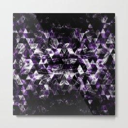 Triangle Geometric Purple Smoky Galaxy Metal Print