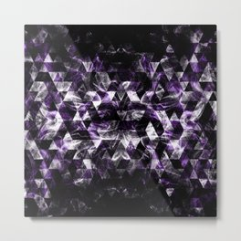 Triangle Geometric Purple Smoky Galaxy pattern Metal Print