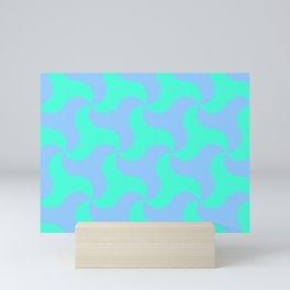 Neon teal shark tooth pattern for the beach Mini Art Print