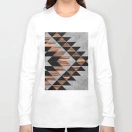 Urban Tribal Pattern No.10 - Aztec - Concrete and Wood Long Sleeve T-shirt