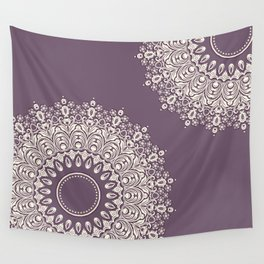 Asymmetric Mandalas on Mulberry Background Wall Tapestry