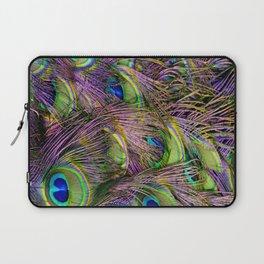 art nouveau bohemian turquoise purple teal green peacock feather Laptop Sleeve