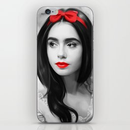 Girl with red lips iPhone Skin