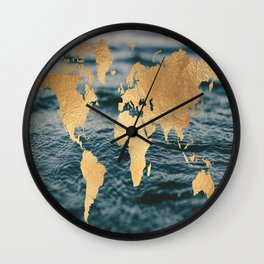 Gold Map in Water Wall Clock